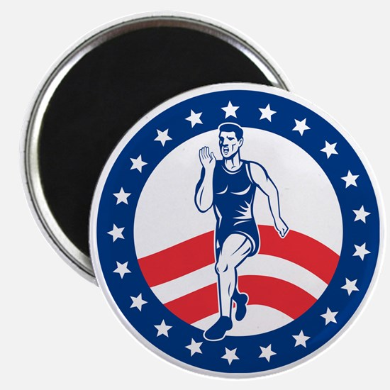 American Marathon runner Magnet