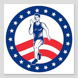 """American Marathon runner Square Car Magnet 3"""" x 3"""""""