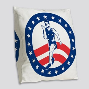 American Marathon runner Burlap Throw Pillow