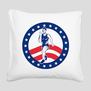 American Marathon runner Square Canvas Pillow