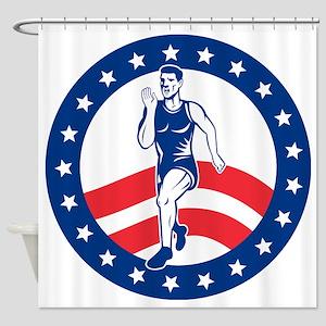 American Marathon runner Shower Curtain