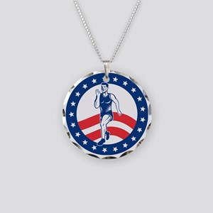 American Marathon runner Necklace Circle Charm