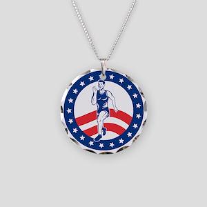 American Marathon runner Necklace Circle Charm