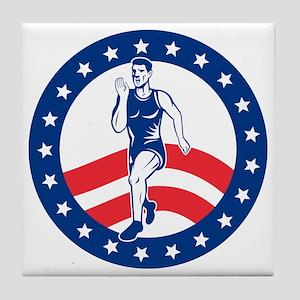 American Marathon runner Tile Coaster