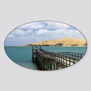 Jetty at Omapere and Sand Dunes Sticker (Oval)