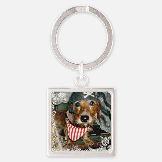 Doxie in Pirate Costume Square Keychain