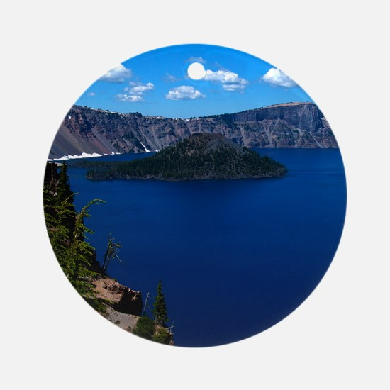 (4) Crater Lake  Wizard Island Round Ornament