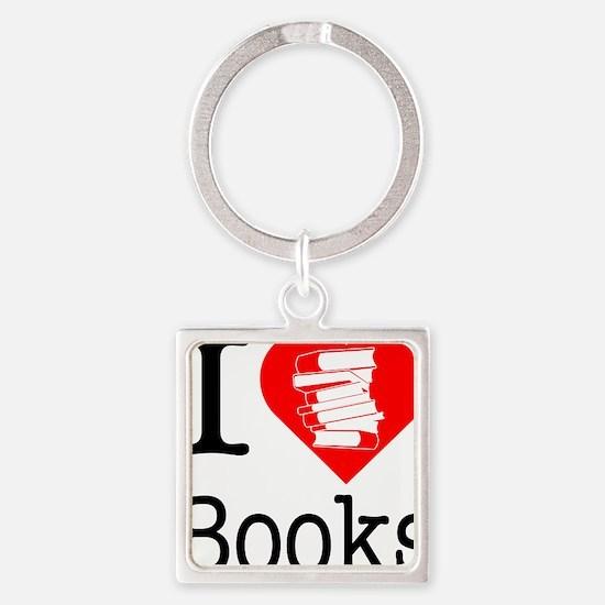 I-Heart-Books Square Keychain
