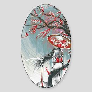 Kindle Sleeve Samurai Woman Sticker (Oval)