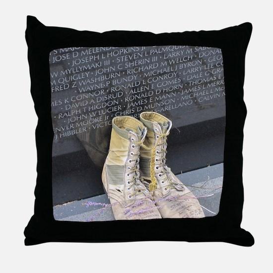 Boots at Vietnam Veterans Memorial Wa Throw Pillow