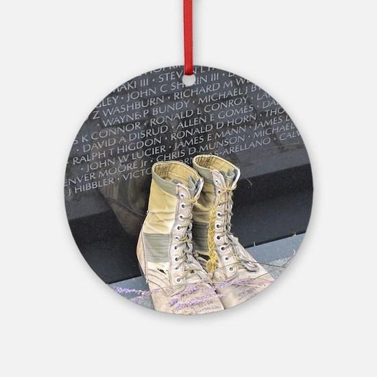 Boots at Vietnam Veterans Memorial  Round Ornament