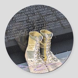 Boots at Vietnam Veterans Memoria Round Car Magnet