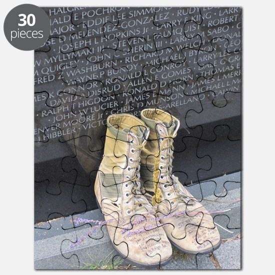 Boots at Vietnam Veterans Memorial Wall Puzzle