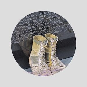 "Boots at Vietnam Veterans Memorial Wal 3.5"" Button"