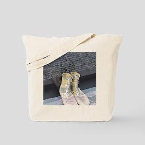 Boots at Vietnam Veterans Memorial Wall Tote Bag