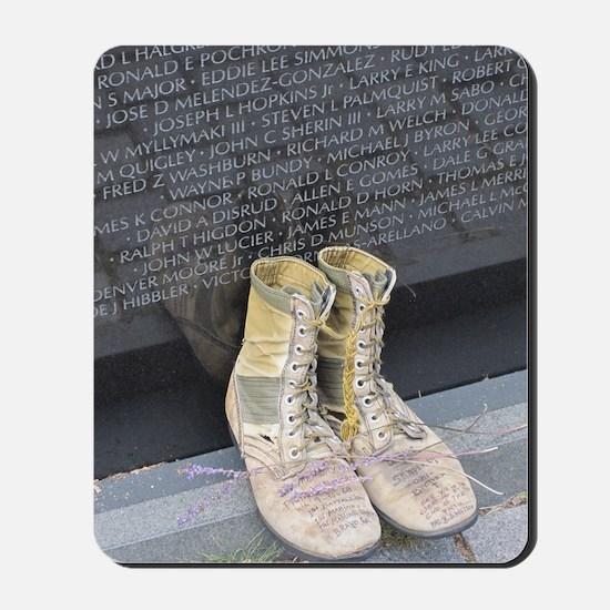 Boots at Vietnam Veterans Memorial Wall Mousepad
