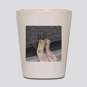 Boots at Vietnam Veterans Memorial Wall Shot Glass