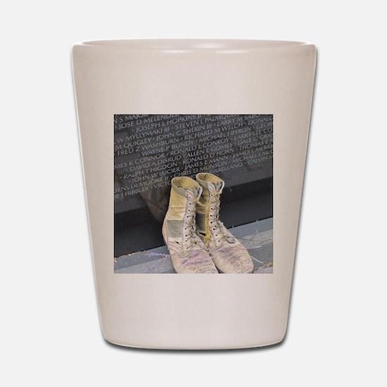 Boots at Vietnam Veterans Memorial Wall Shot Glass