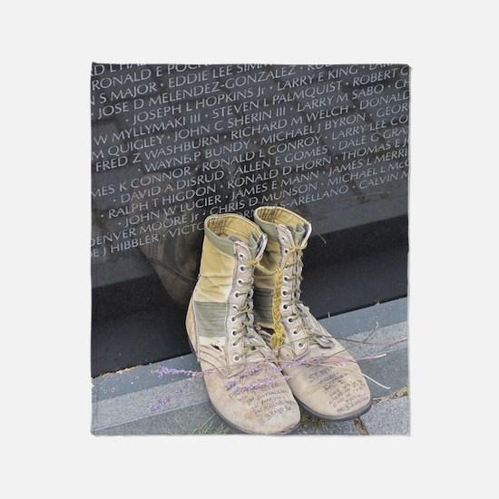 Boots at Vietnam Veterans Memorial W Throw Blanket