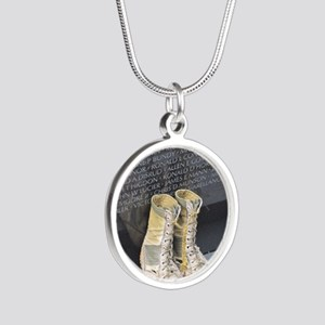 Boots at Vietnam Veterans Me Silver Round Necklace