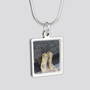 Boots at Vietnam Veterans  Silver Square Necklace
