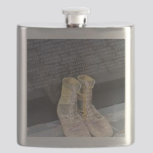 Boots at Vietnam Veterans Memorial Wall Flask
