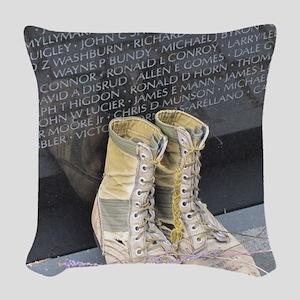 Boots at Vietnam Veterans Memo Woven Throw Pillow