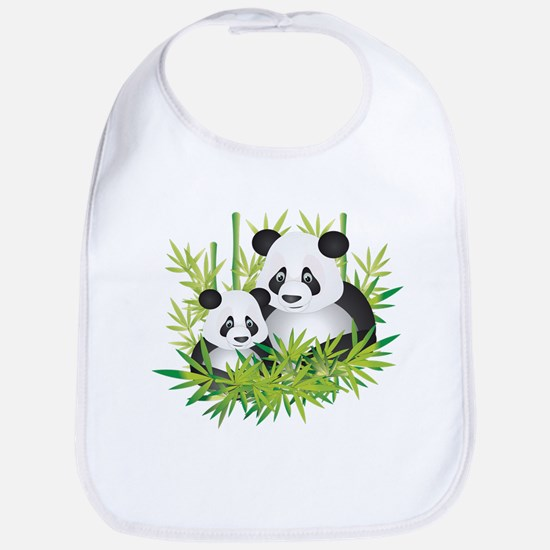 Two Pandas in Bamboo Bib