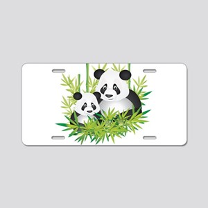Two Pandas in Bamboo Aluminum License Plate