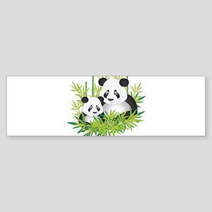 Two Pandas in Bamboo Bumper Sticker