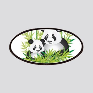 Two Pandas in Bamboo Patches