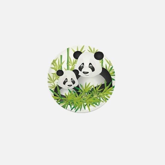 Two Pandas in Bamboo Mini Button