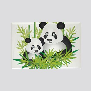 Two Pandas in Bamboo Magnets