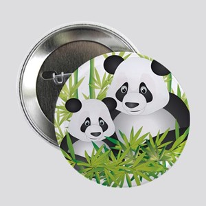 """Two Pandas in Bamboo 2.25"""" Button"""