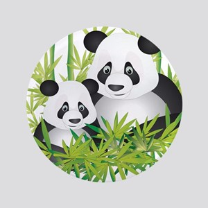 """Two Pandas in Bamboo 3.5"""" Button"""