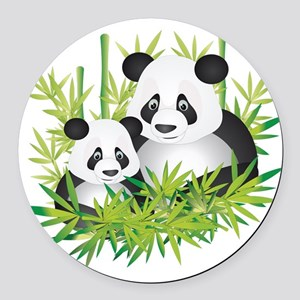Two Pandas in Bamboo Round Car Magnet