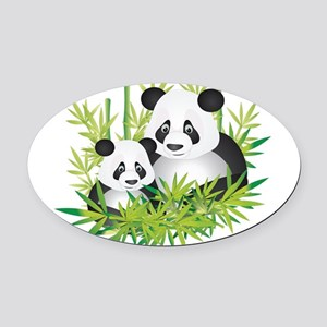 Two Pandas in Bamboo Oval Car Magnet