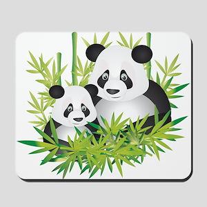 Two Pandas in Bamboo Mousepad