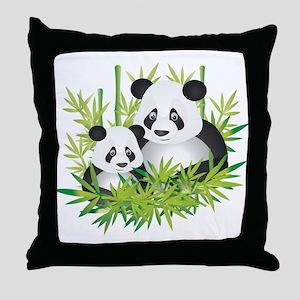 Two Pandas in Bamboo Throw Pillow