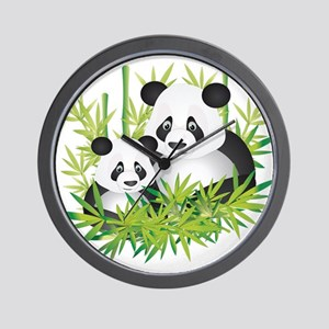 Two Pandas in Bamboo Wall Clock