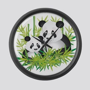 Two Pandas in Bamboo Large Wall Clock