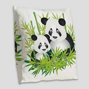 Two Pandas in Bamboo Burlap Throw Pillow
