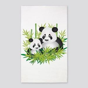 Two Pandas in Bamboo 3'x5' Area Rug