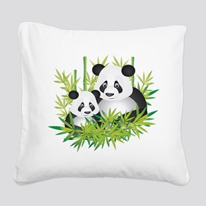 Two Pandas in Bamboo Square Canvas Pillow
