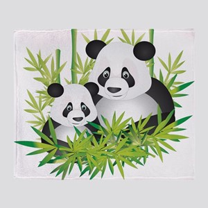 Two Pandas in Bamboo Throw Blanket