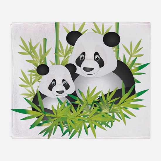 Two Pandas in Bamboo Throw Blanket
