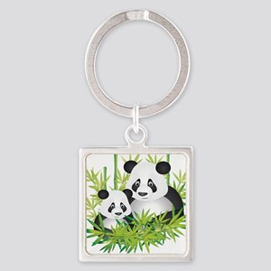 Two Pandas in Bamboo Keychains