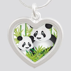 Two Pandas in Bamboo Necklaces