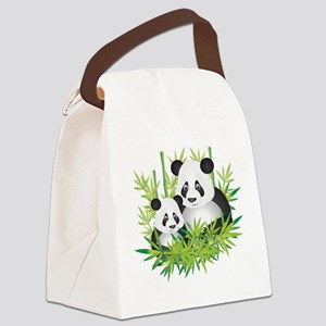 Two Pandas in Bamboo Canvas Lunch Bag