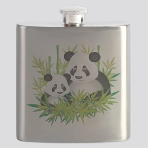Two Pandas in Bamboo Flask